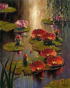 gyclli: Scarlet Lilies …Artist by Bob Pejman. Water Lilies Painting, Lily Painting, Oil Painting Flowers, Abstract Flowers, Abstract Art, Pond Painting, Flower Canvas Art, Flower Art, Lotus Art
