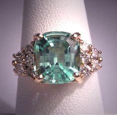 Vintage Aquamarine Diamond Ring Estate Art Deco Antique Wedding | eBay