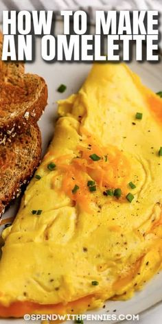 Every home cook should know how to make an omelet! The basic steps are easy, and the fillings are up to the chef! #spendwithpennies #howtomakeanomelette #diy #kitchentips #recipe #stepbystep #simple #easy #fillings #tasty #omelettewithcheese Sausage Breakfast, Breakfast For Dinner, Breakfast Dishes, Breakfast Recipes, Breakfast Bake, Top Recipes, Brunch Recipes, Cooking Recipes, Healthy Recipes