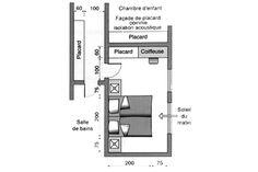 Une chambre à coucher avec couloir de rangement à proximité