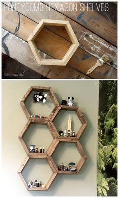 DIY Honeycomb Hexagon Shelves - DIY Hexagon Honeycomb Shelves: Step by step tutorial with photos Honeycomb Shelves, Hexagon Shelves, Decoration Bedroom, Diy Home Decor, Room Decorations, Diy Projects To Try, Home Projects, Diy Regal, Diy Holz