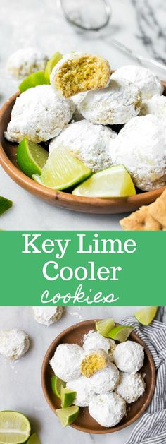 Key Lime Cooler Cookies. Tangy key lime dessert cookies rolled in sugar: lime cookies, lime snowballs, or lime tea cake cookies.