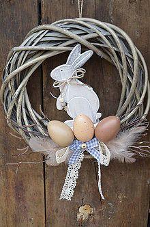 Dekorácie - Veniec so zajačikom - 5208956_ Grapevine Wreath, Grape Vines, Easter, Wreaths, Handmade, Decor, Door Wreaths, Decorating, Vineyard Vines