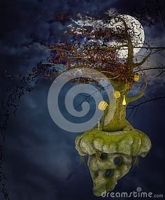 Flying Tree Island And Moon - Download From Over 34 Million High Quality Stock Photos, Images, Vectors. Sign up for FREE today. Image: 56793365