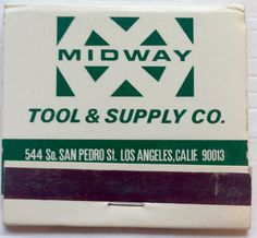 Midway Tool and Supply Co. #matchbook - To design & order your business' own logo #matches GoTo: GetMatches.com #phillumeny