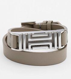 Tory Burch grey leather wrap around bracelet