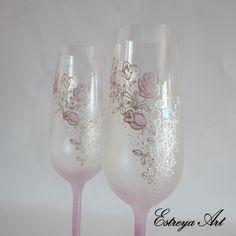 Hand Painted Toasting Flutes, Romantic Wedding, Pink Wedding, Blush pink, Set of 2