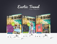 Promote your business with a unique and creative flyer template package.  Perfect for a wide range of social media businesses like: Exotic Holiday Deals, Travel Agency, Booking Service, Travel Planner or Airlines Travel.