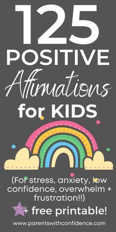 Positive Affirmations For Kids, Affirmations For Anxiety, Positive Words, Affirmations Confidence, Positive Quotes, Positive Feelings, Cute Quotes For Kids, Mindfulness For Kids, Kids Mental Health