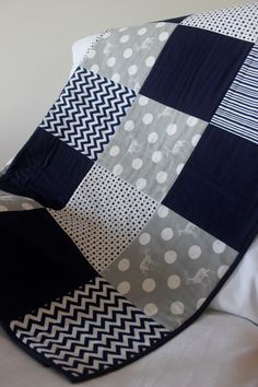 Modern baby boy quilt. Grey and navy with elk print, spots, stripes and chevron patterns. 100% cotton; pre-washed; machine washable. by emmyjdesign on Etsy https://www.etsy.com/listing/218959030/modern-baby-boy-quilt-grey-and-navy-with