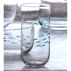 Tetra Fish Glass - Etched and hand-painted fish. Mouth-blown glass.