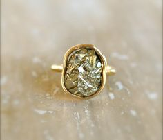 Pyrite Gold Ring. So pretty, it could even be an unconventional engagement ring. #engagementring #pyrite #rings