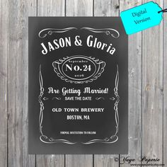 Save the Date Whiskey Wedding card Jack Daniels by YuyaPaperie