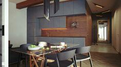 Salon z kuchnią - Kuchnia - Styl Nowoczesny - Avocado