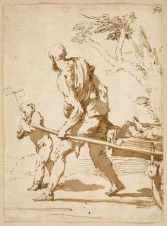 Boy with a Pinwheel and an Old Man Pulling a Cart with a Corpse on it José de Ribera Pen, brown ink and brown wash; traces of black chalk added at a later date, 235 x 170 mm. Early 1640´s Madrid, Museo Nacional del Prado