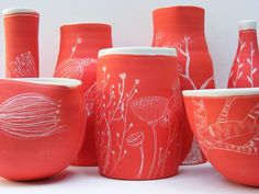 Lucy Vanstone Ceramics - Tree Gallery - Red RangeLarge - Southern porcelain thrown on the wheel with red engobe and sgraffito designs.