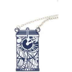 Hot Topic Doctor Who Gallifreyan Clock TARDIS Necklace ($8.40) ❤ liked on Polyvore featuring jewelry, necklaces, black, pendant chain necklace, pendant necklace, chain necklace, pendant jewelry and chains jewelry