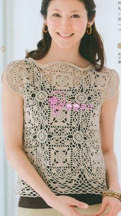 Crochet top with interesting neckline