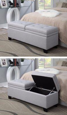 End Of Bed Storage Bench Beautiful the Finley Upholstered Storage Bench Creates Style and Upholstered Storage Bench, Bench With Storage, Bed Storage, Bedroom Storage, Bedroom Furniture Design, Home Decor Furniture, Sofa Furniture, Bedroom Decor, Bedroom Sofa