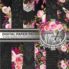 Watercolor Flower digital paper Instant Download Chalkboard
