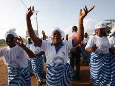 Members of Women in Peacebuilding Network celebrate after the announcement that Liberia is ebola free, in Monrovia, Liberia, on May 9. The World Health Organization on May 9 declared Liberia free of Ebola after no new cases were reported for 42 days, twice the virus' incubation period.   Ahmed Jallanzo, European Pressphoto Agency