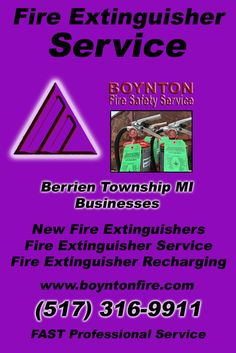 Fire Extinguisher Service Berrien Township, MI (517) 316-9911Local Michigan Businesses Discover the Complete Fire Protection Source.  We're Boynton Fire Safety Service.. Call us today!