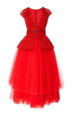Tea Length Cocktail Dress by NAEEM KHAN Now Available on Moda Operandi