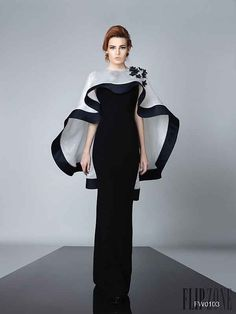 Cheap dress train, Buy Quality dress up casual dress directly from China dresse Suppliers: Elegant Long Evening Dresses Gowns Black And White Special Occasion Dress With Capes robe de soiree vestido de festa Trendy Dresses, Elegant Dresses, Beautiful Dresses, Fashion Dresses, Evening Dresses, Prom Dresses, Formal Dresses, Bride Dresses, Robes Glamour