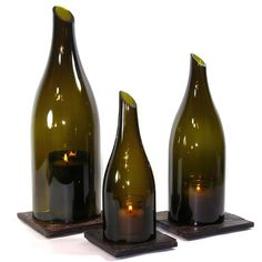 Wine Bottle Candles. I love how the top is cut also