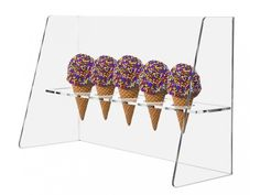 Ice Cream Cone Holder Stand with Guard Display Clear Acrylic Rack  #MarketingHolders