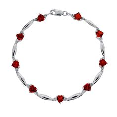 "Sterling Silver Garnet and Diamond Accent Heart Bracelet, Women's, Size: 7.5"", Red"