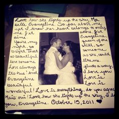 Lyrics to first dance song and a picture from our first dance