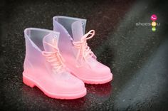 Jelly Lace Up Rain Boot (Hot Pink) at HelloShoppers