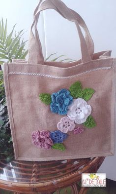 Granny Square Crochet Pattern, Crochet Diagram, Crochet Patterns, Hand Embroidery Flowers, Embroidery Bags, Fabric Wallet, Fabric Bags, Crochet Crafts, Crochet Projects