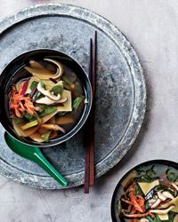 Shiitake-and-Swiss-Chard Soup with Hand-Cut Noodles Recipe on Food & Wine