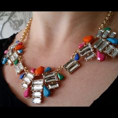 It's Friday necklace Sparkling rhinestones with coral and blue mix of colors on bright golden chain. Large lobster clasp closure. Perfect for work and a nightout. Jewelry Necklaces