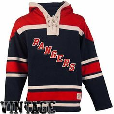 Old Time Hockey New York Rangers Lace Jersey Team Hoodie - Navy Blue/Red XL