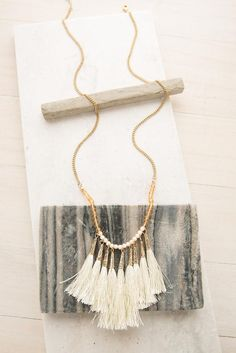 Life of the Party Tassel Necklace in White | ShopDressUp.com