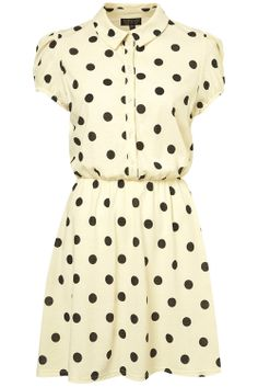 Topshop, Cream Spot Shirt Dress, £30