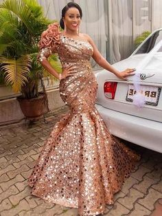 Sequins Oblique Collar Floor-Length Cold Shoulder Pullover Dress – Dan-char-in African Lace Styles, African Lace Dresses, Latest African Fashion Dresses, African Print Fashion, Nigerian Dress, Nigerian Lace, Kente Dress, Lace Dress Styles, Reception Gown