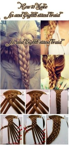 Sixth strand braid Eighth Strand Braid Weaving braids of six or eight strands - a complex process, but the result . Diy Hairstyles, Pretty Hairstyles, Senior Hairstyles, Pinterest Hairstyles, Hairstyle Ideas, Cool Braids, Crazy Braids, Crazy Hair, Love Hair