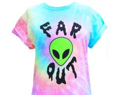 Far Out T shirt Alien T shirt Screen Printed by Foxcultvintage