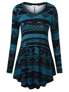 d98c68196b BaiShengGT Women's Long Sleeve Flared Tunic Top at Amazon Women's Clothing  store Tunics, Nice Tops