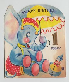Vintage Fold Out Elephant with Ball Birthday Greeting Card Vintage Birthday Cards, Kids Birthday Cards, Vintage Greeting Cards, Birthday Greeting Cards, Birthday Greetings, Umbrella Cards, Happy Birthday Today, Ball Birthday, Thing 1