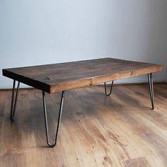 Rustic-Vintage-Industrial-Solid-Wood-Coffee-Table-Bare-Metal-Hairpin-Legs-Dark