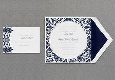 Damask Wedding Invitation - Navy Blue - Luxury - Square  #damask #wedding #invitations