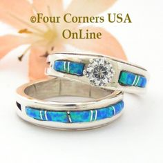 Size 7 1/2 Engagement Bridal Wedding Ring Set Blue Fire Opal Navajo Wilbert Muskett Jr WS-1508 Four Corners USA OnLine Native American Silver Jewelry