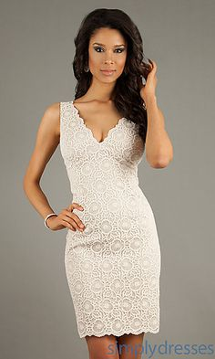 Rehearsal dinner dress Short V-Neck Lace Dress at SimplyDresses.com