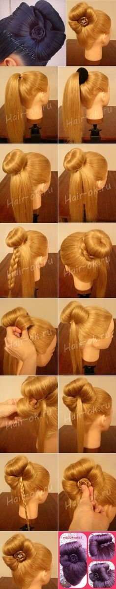 Sophisticated Bun Decorated with a Cute Bow  DIY