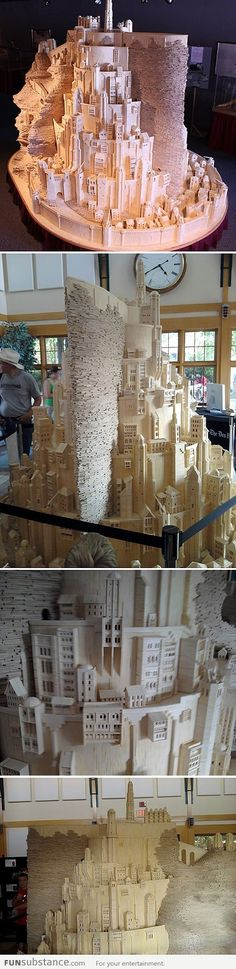 Minas Tirith Made from Matchsticks